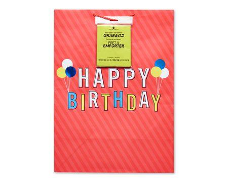 jumbo happy birthday on red grab-&-go gift bag