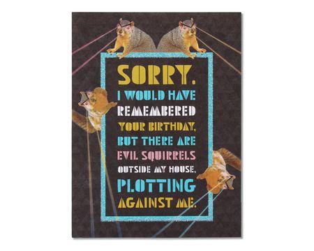 Squirrels Belated Birthday Card