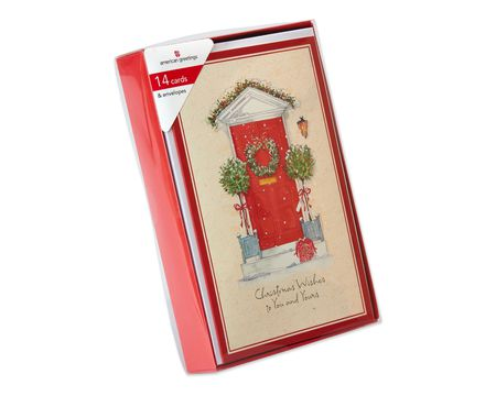 Red Front Door with Wreath Christmas Boxed Cards, 14 Count