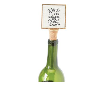 "Mud Pie ""Wine Best When Served With Great Friends"" Gold Frame Wine Bottle Stopper"
