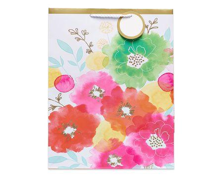 medium watercolor flowers gift bag