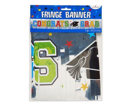 congrats grad metallic fringe banner