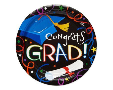 congrats grad dinner plate 8 ct