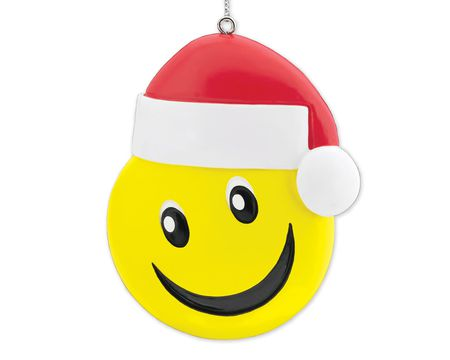 Smiley Face with Santa Hat Christmas Tree Ornament