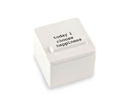 Mud Pie Choose Happiness Ceramic Trinket Box