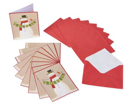 Snowman Holding Banner Christmas Thank You Note Cards, 10 Count