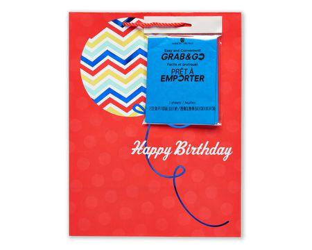 medium happy birthday balloon gift bag with tissue