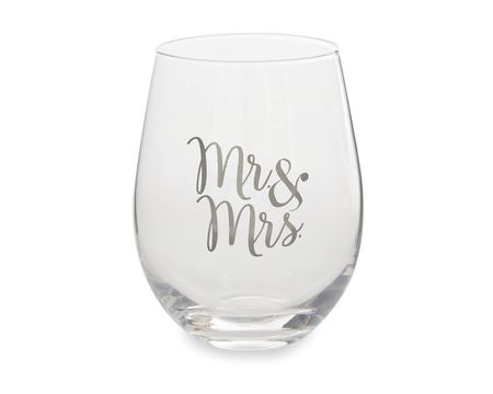 Mud Pie Mr. & Mrs. Stemless Wine Glass