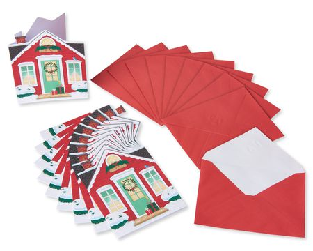 House with Festive Decorations Christmas Blank Note Cards, 10 Count