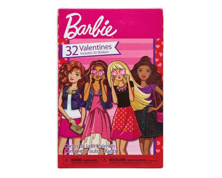 barbie school valentine's day cards, 32 ct with stickers