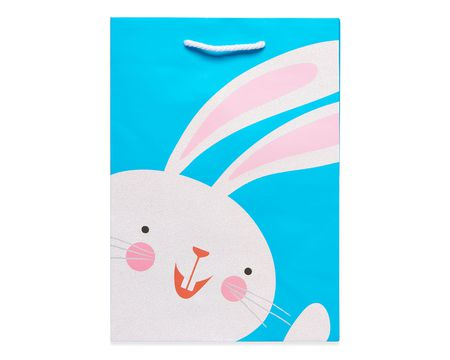 small glitter bunny easter gift bag