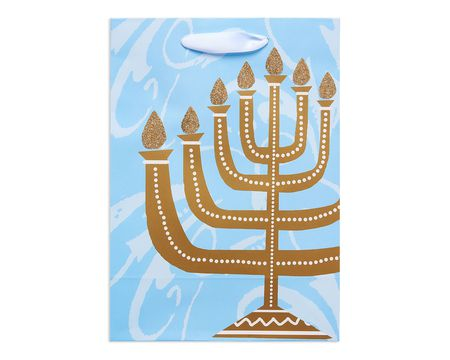 small menorah hanukkah gift bag