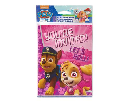 paw patrol pink invite and thank you combo pack 8 ct