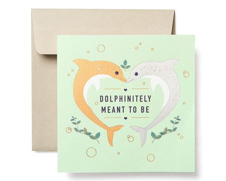 dolphins greeting card for couple engagement wedding anniversary - Wedding Greeting Cards