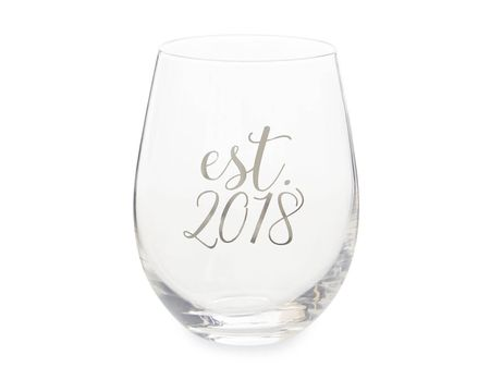 Mud Pie Est. 2018 Stemless Wine Glass