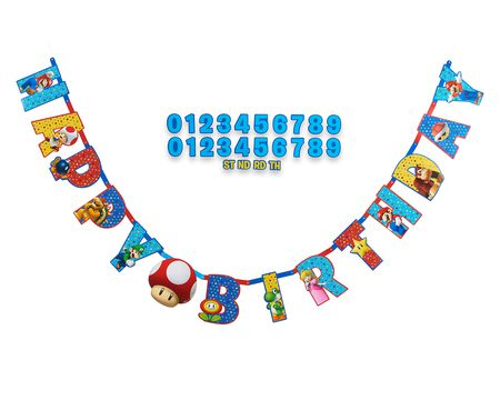 Super Mario Add-an-Age Birthday Party Banner