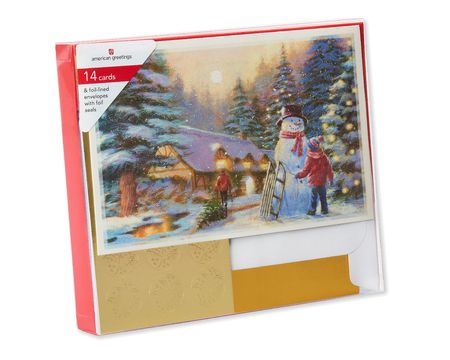 Snowman and Kids in Village Christmas Boxed Cards, 14 Count