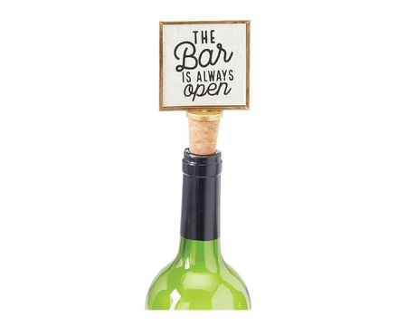 "Mud Pie ""The Bar Is Always Open"" Gold Frame Wine Bottle Stopper"