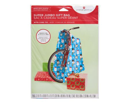Gift bags shop american greetings super jumbo winter friends christmas plastic gift bag negle Choice Image