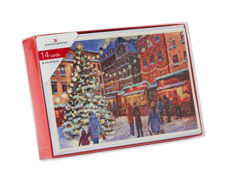 Snowy City with Tree Christmas Boxed Cards, 14 Count