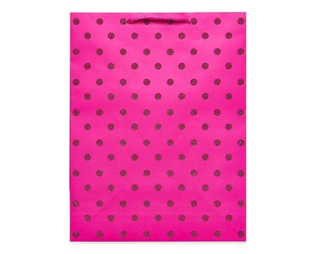 medium pink glitter dots gift bag