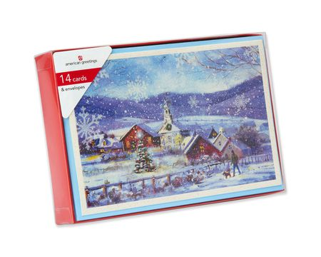 Snowy Village with Church Boxed Cards, 14 Count