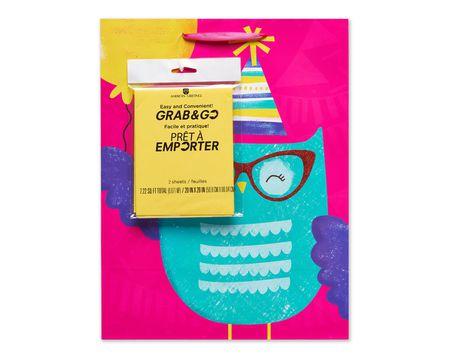 medium birthday owl gift bag with tissue