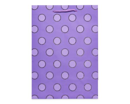 small purple glitter dots gift bag