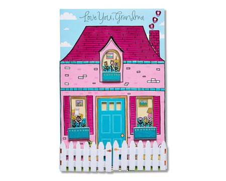 pink house mother's day card for grandma