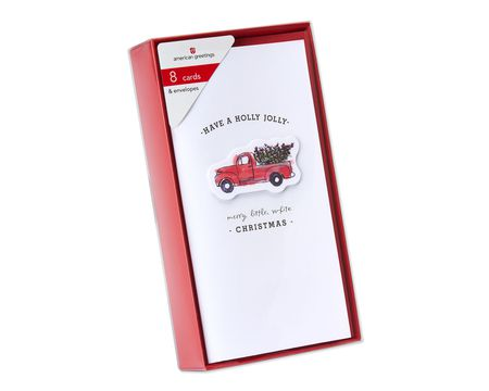 Holly Jolly Small Truck Christmas Boxed Cards, 8 Count