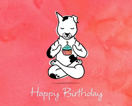 Yoga Dog Birthday Ecard