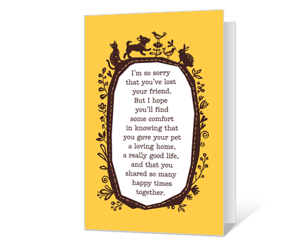 picture relating to Printable Sympathy Cards known as Printable sympathy animals Playing cards - American Greetings