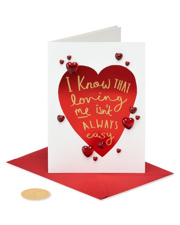 Papyrus Greeting Card Valentine's Happy Love Day Dog with Heart Glasses