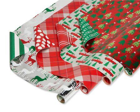 Christmas Reversible Wrapping Paper, Stripes, Polka Dots, Plaids, Reindeer, Retro Trucks, Trees and Christmas Lettering, 4-Rolls, 120 Total Sq. Ft.