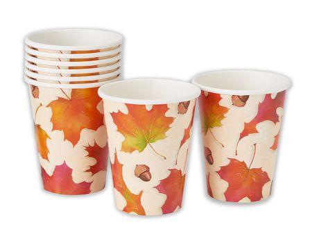 8 Count Paper Fall Tableware Supplies Thanksgiving Cups 9 oz