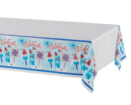 Patriotic Plastic Table Cover, 54