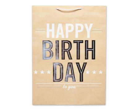 jumbo happy birthday on kraft gift bag