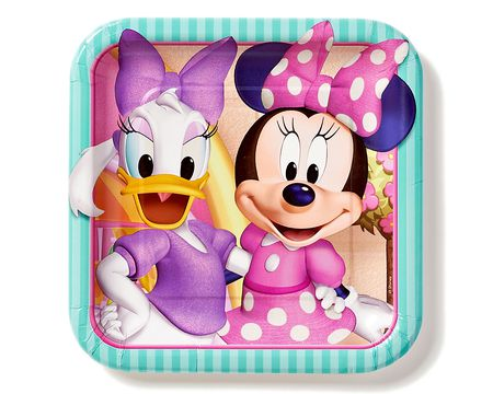 minnie mouse bow-tique dinner square plate 8 ct