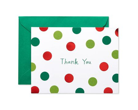 Red and Green Dots Blank Thank You Note Cards and Green Envelopes, 10-Count