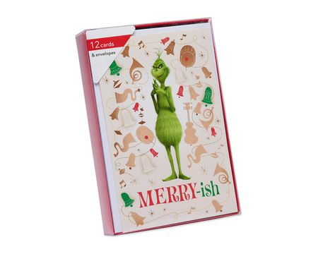 Grinch Christmas Boxed Cards and White Envelopes, 12-Count
