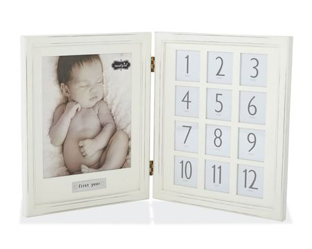 Mud Pie Baby's First Year Hinged Double Picture Frame