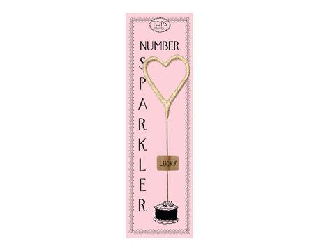 Mini Gold Heart Pink Sparkler Card