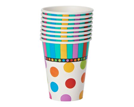 dots & stripes paper cups 8 ct