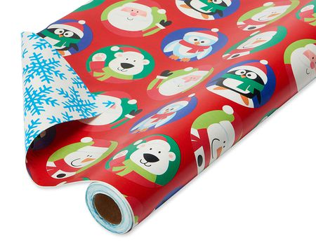 Christmas Reversible Wrapping Paper Santa With Characters And Snowflakes Mega Roll 30 175 Total Sq Ft