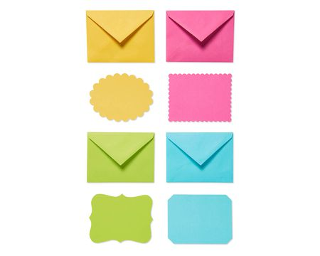 Bright Blank Flat Panel Note Cards and Colored Envelopes, 40-Count