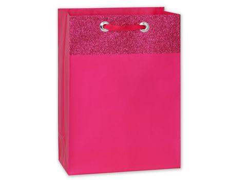 medium pink glitter gift bag
