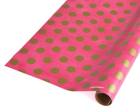 pink and gold dots wrapping paper 20 total sq ft - Christmas Paper