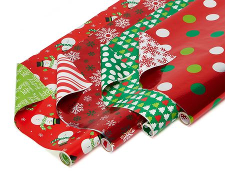 Christmas Paper and Foil Reversible Wrapping Paper, Polka Dots, Trees, Snowmen and Snowflakes, 4-Roll, 30