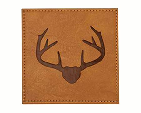 Mud Pie Light Brown Faux Leather Coaster Set
