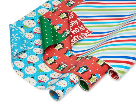 Christmas Reversible Wrapping Paper, Blue Snowman, Red Penguin and Multicolor Stripe, 3-Rolls, 120 Total Sq. Ft.